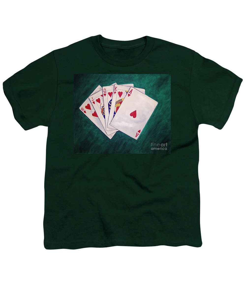 Playing Cards Wining Hand Role Flush Youth T-Shirt featuring the painting Wining Hand 2 by Herschel Fall