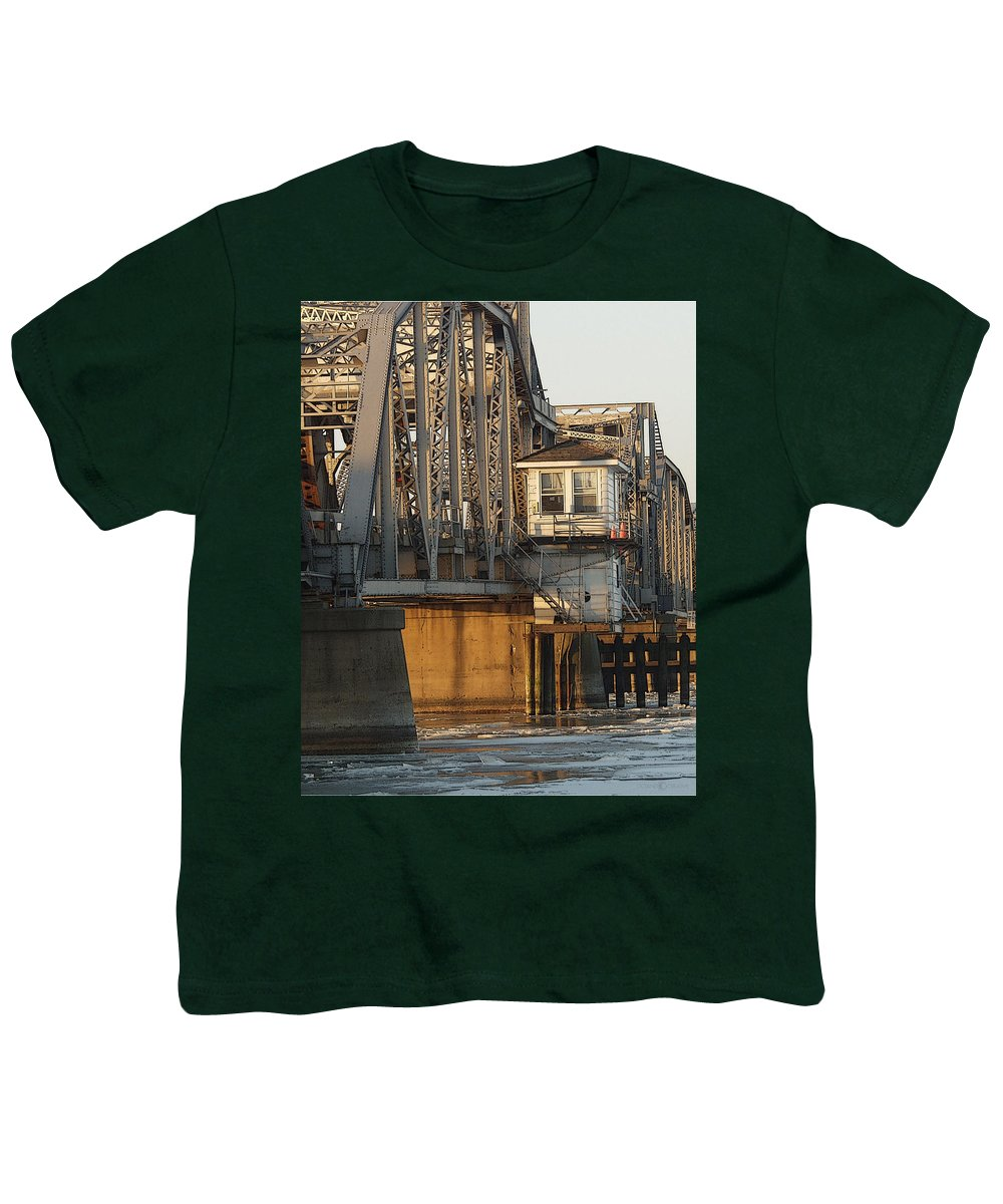Bridge Youth T-Shirt featuring the photograph Winter Bridgehouse by Tim Nyberg