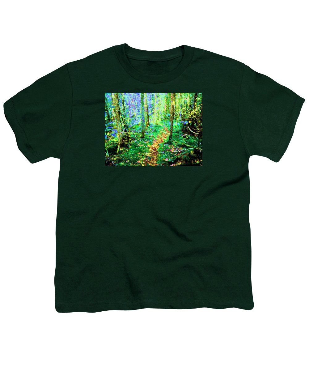 Nature Youth T-Shirt featuring the digital art Wooded Trail by Dave Martsolf