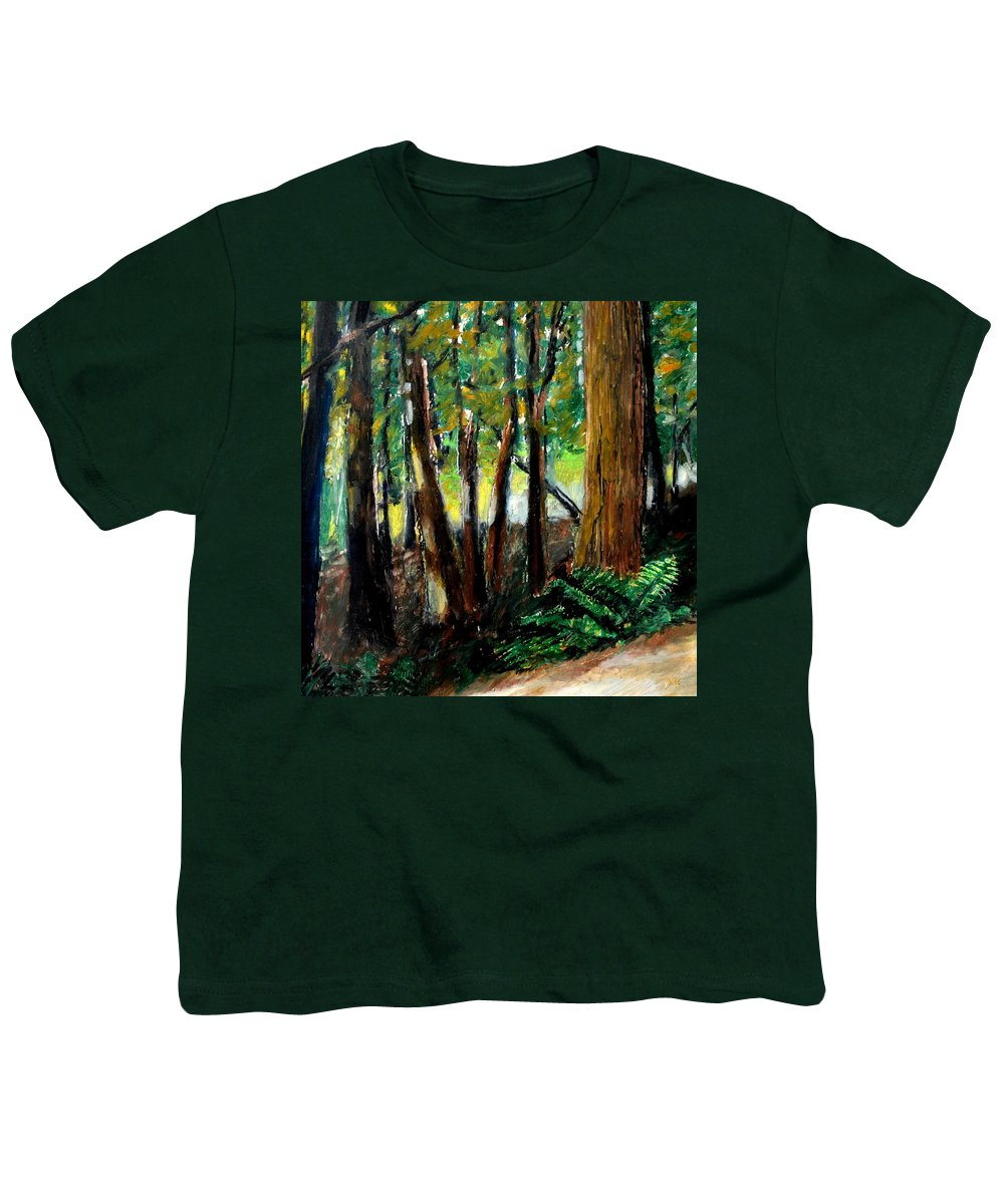 Livingston Trail Youth T-Shirt featuring the drawing Woodland Trail by Michelle Calkins