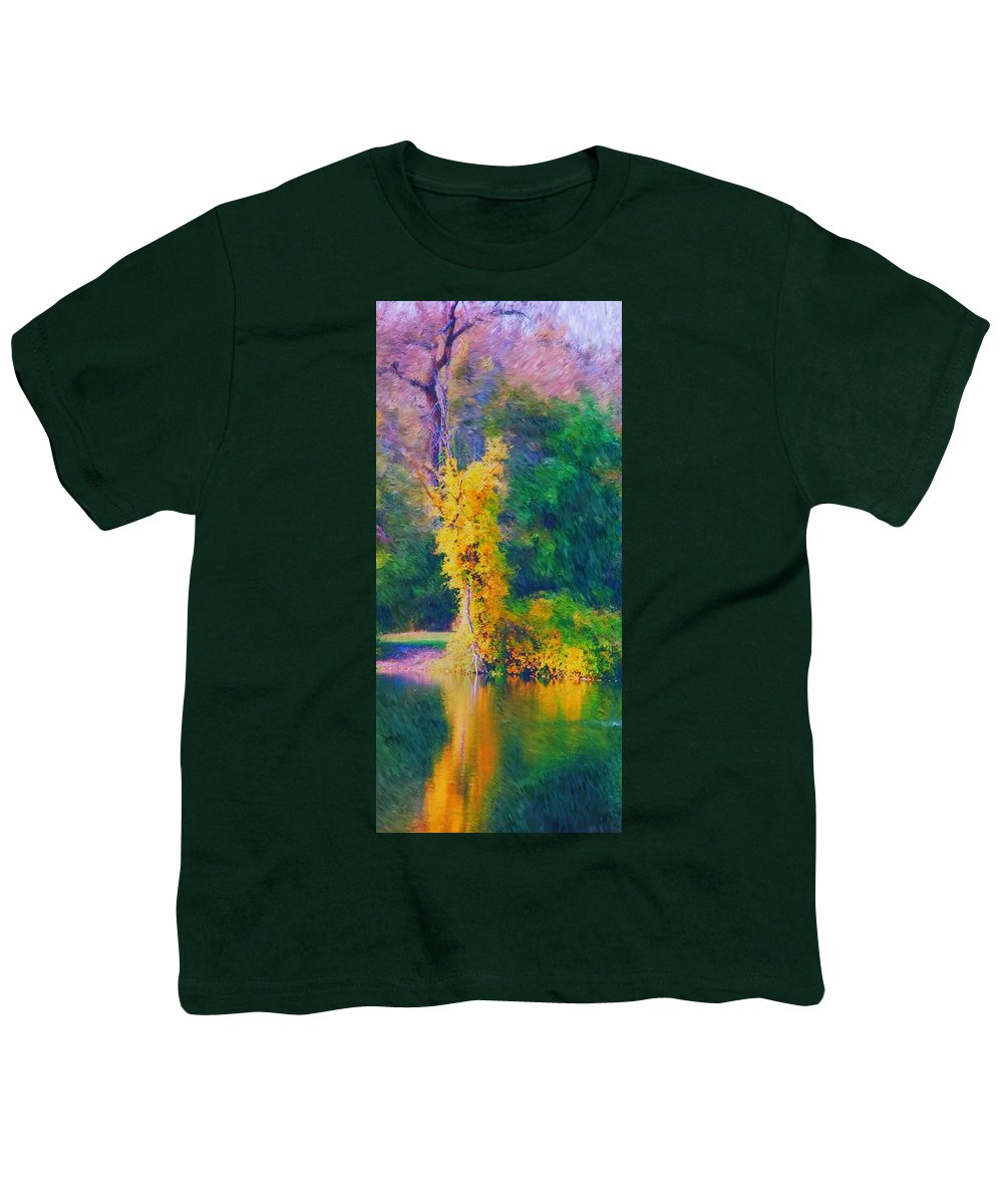 Digital Landscape Youth T-Shirt featuring the digital art Yellow Reflections by David Lane