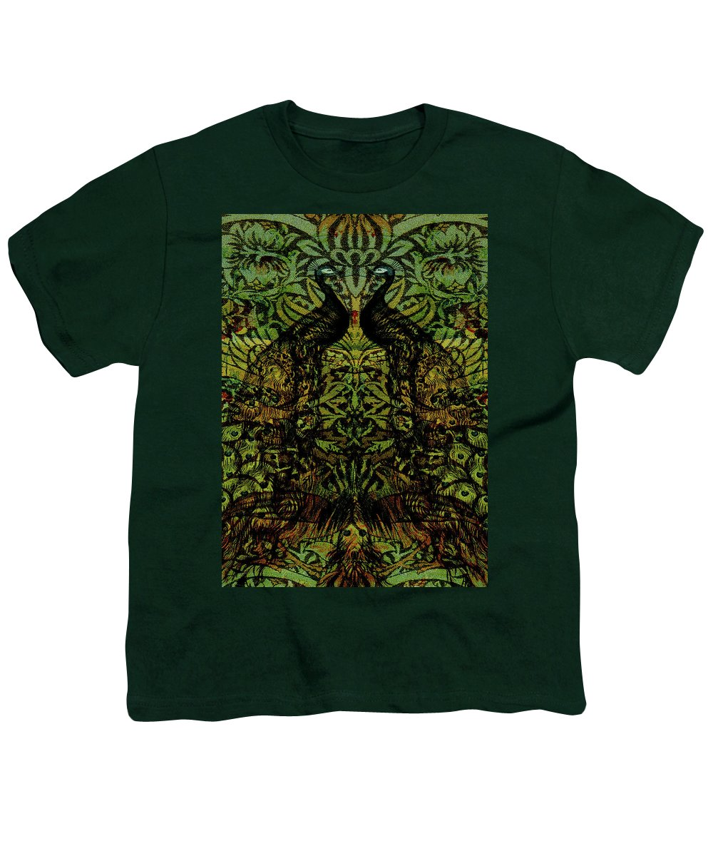 Peafowls Youth T-Shirt featuring the digital art Indian Blue Peafowl Pattern by Sarah Vernon