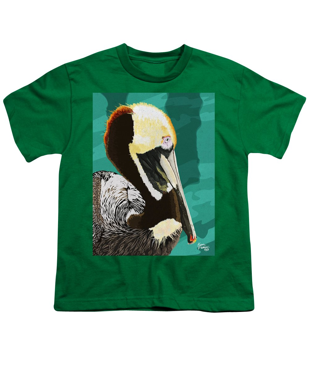 Brown Pelican Youth T-Shirt featuring the digital art A Pelicans View by Kevin Putman