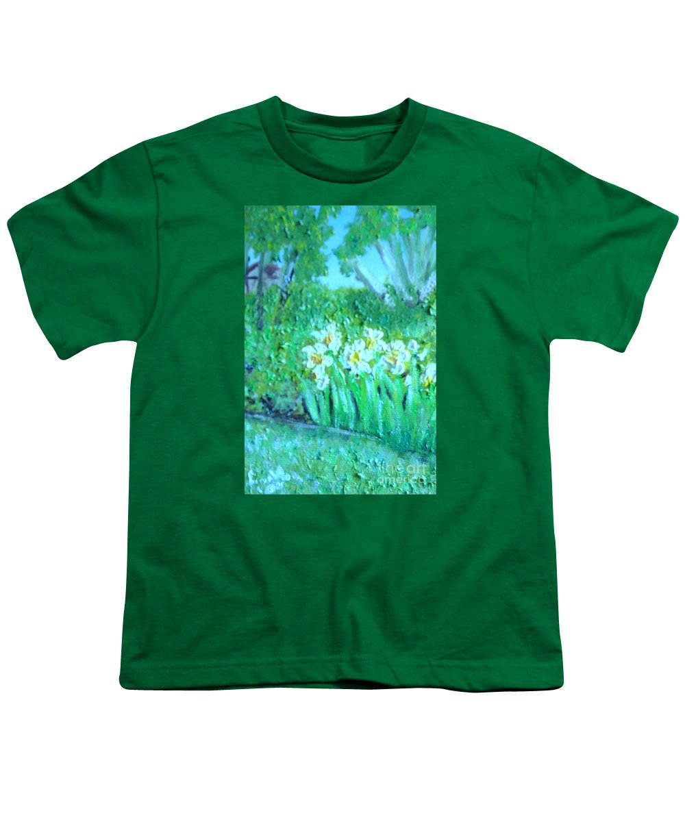 Daffodils Youth T-Shirt featuring the painting Dependable Daffodils by Laurie Morgan