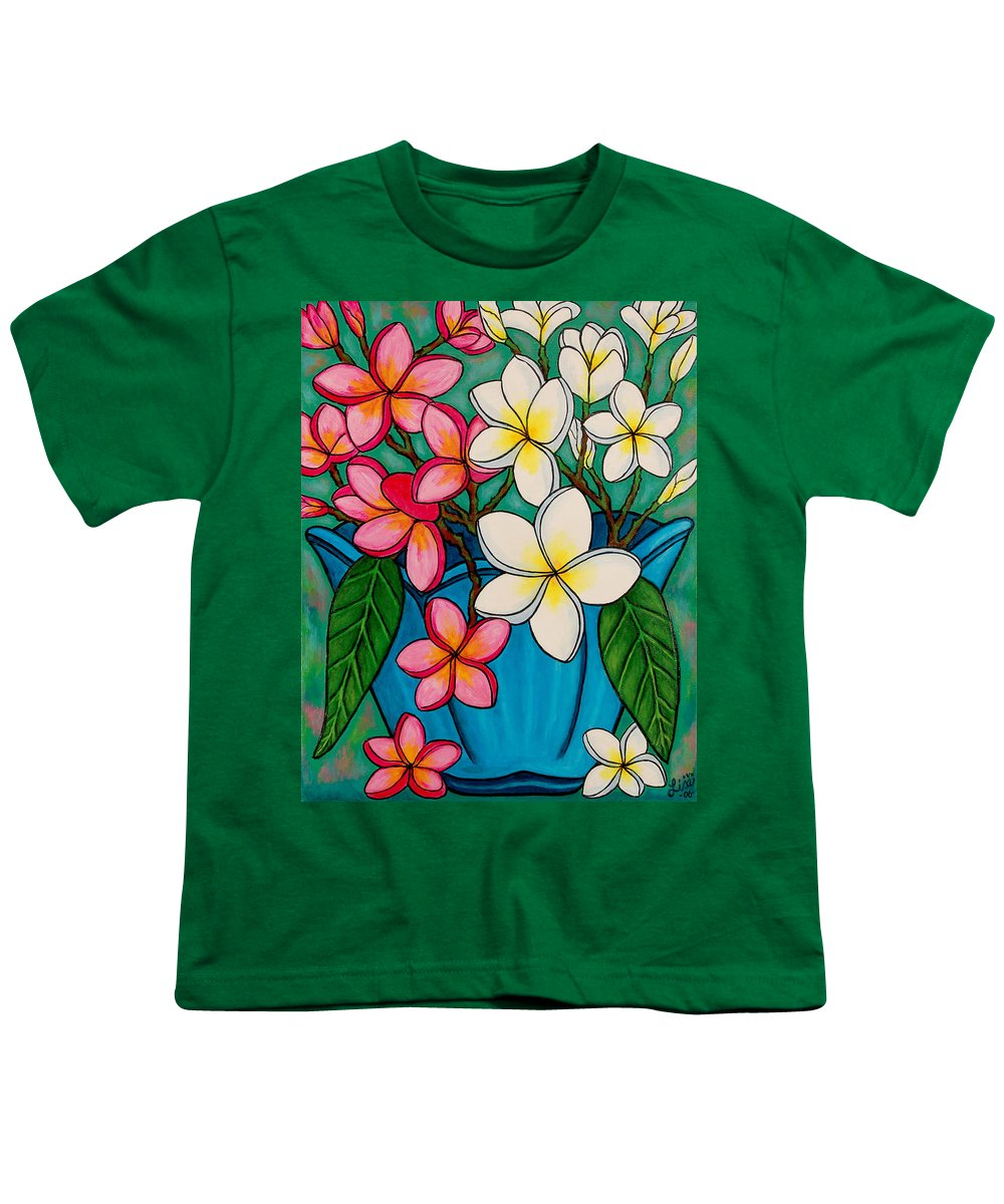 Frangipani Youth T-Shirt featuring the painting Frangipani Sawadee by Lisa Lorenz