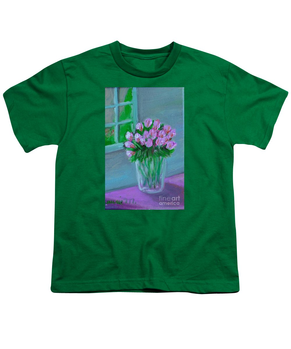 Rose Youth T-Shirt featuring the painting Leslie's Roses by Laurie Morgan