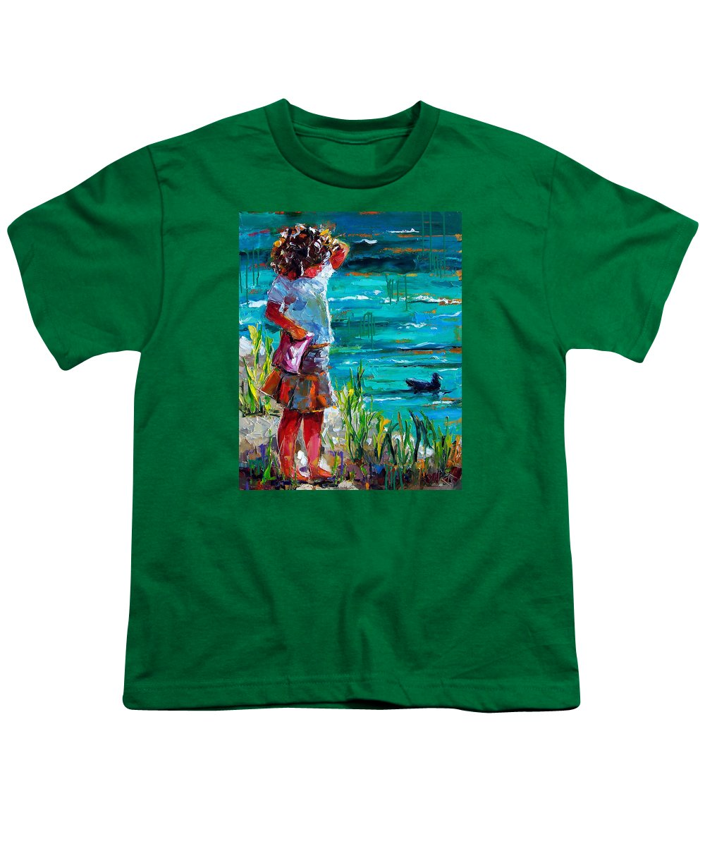 Children Youth T-Shirt featuring the painting One Lucky Duck by Debra Hurd