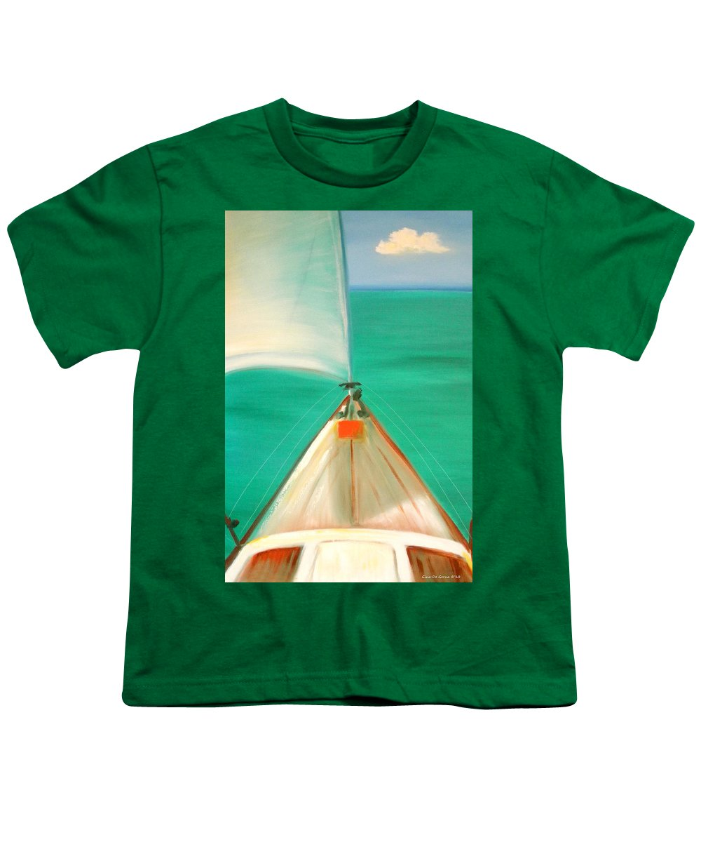 Sea Youth T-Shirt featuring the painting Sailing by Gina De Gorna