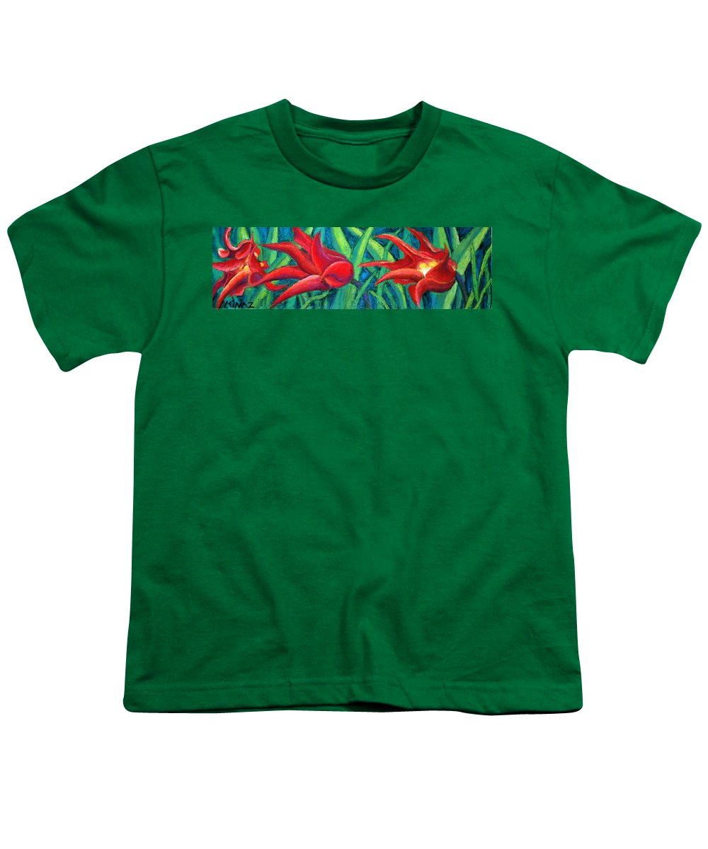 Tulips Youth T-Shirt featuring the painting Triple Tease Tulips by Minaz Jantz