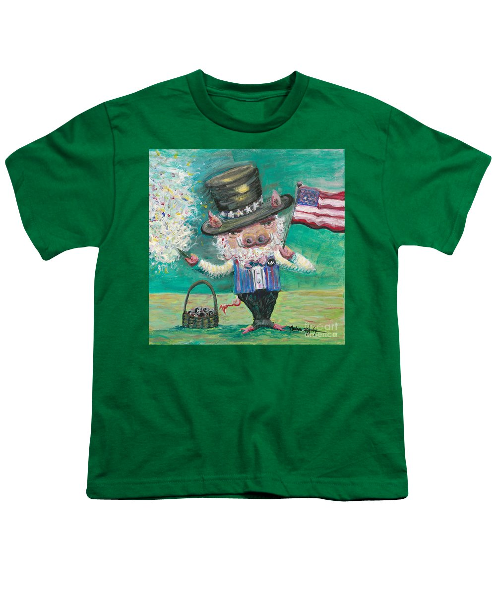 Fourth Of July Youth T-Shirt featuring the painting Uncle Spam by Nadine Rippelmeyer