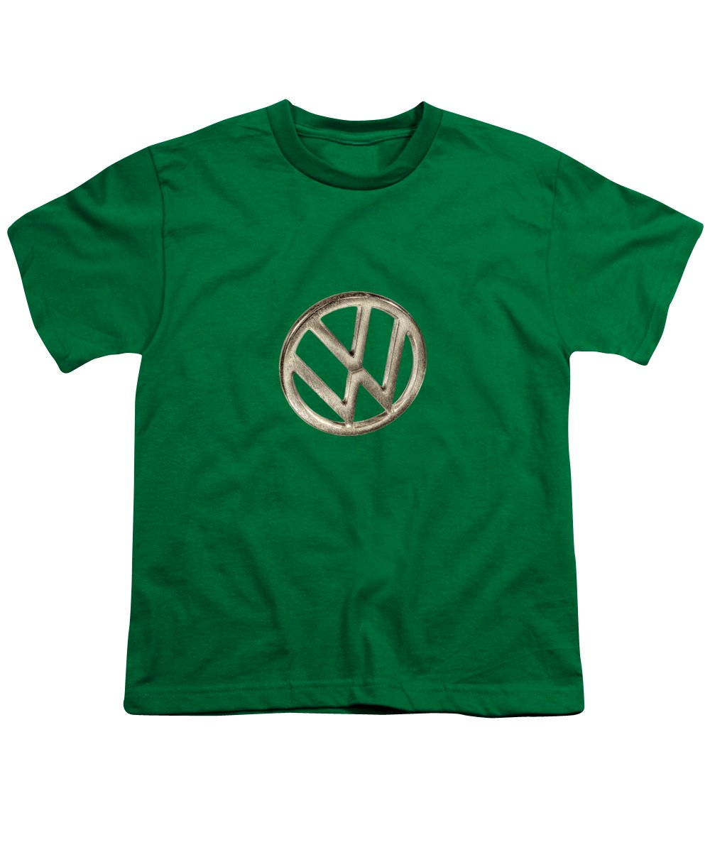 Automotive Youth T-Shirt featuring the photograph Vw Car Emblem by YoPedro