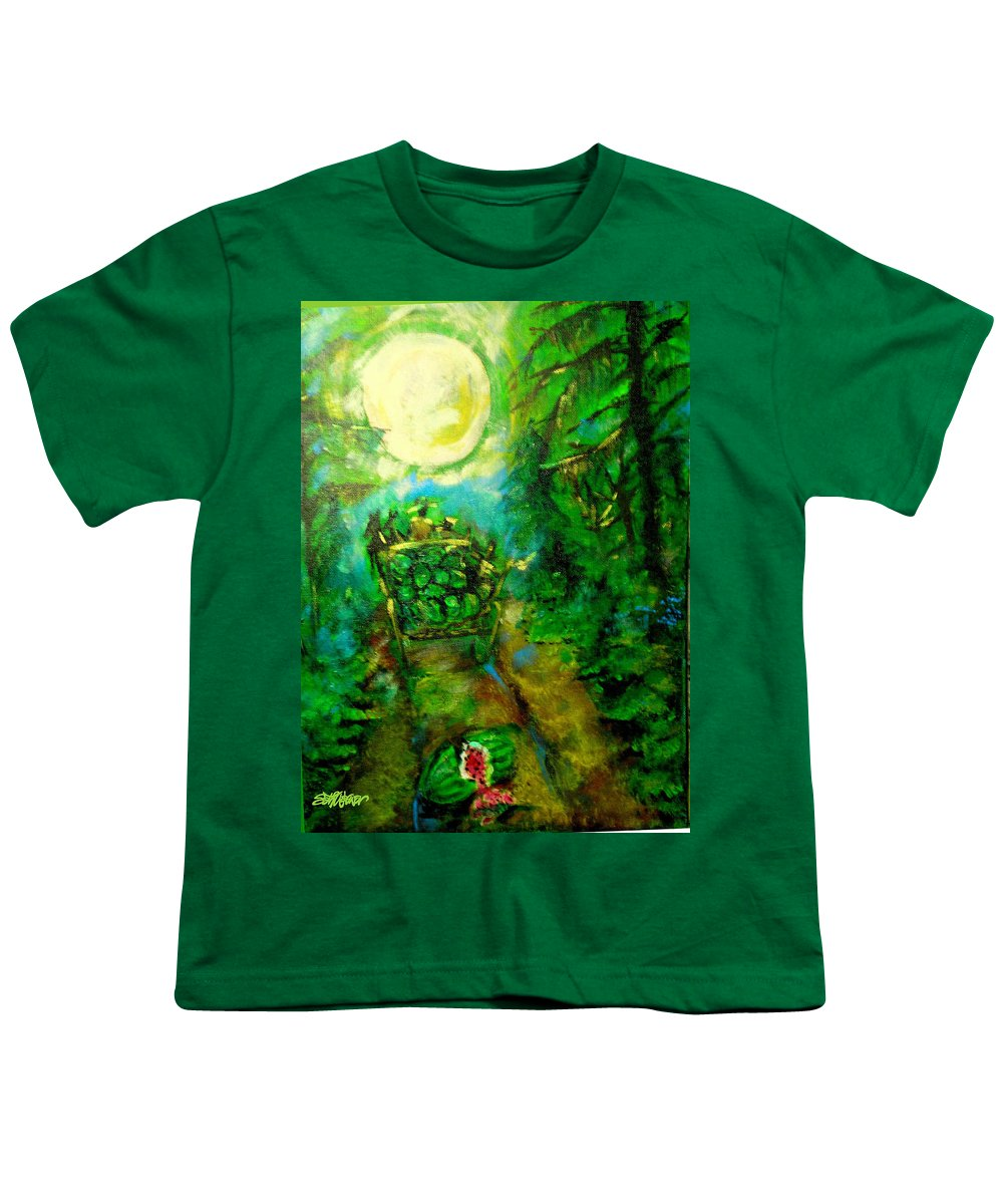 Watermelon Wagon Moon Youth T-Shirt featuring the painting Watermelon Wagon Moon by Seth Weaver