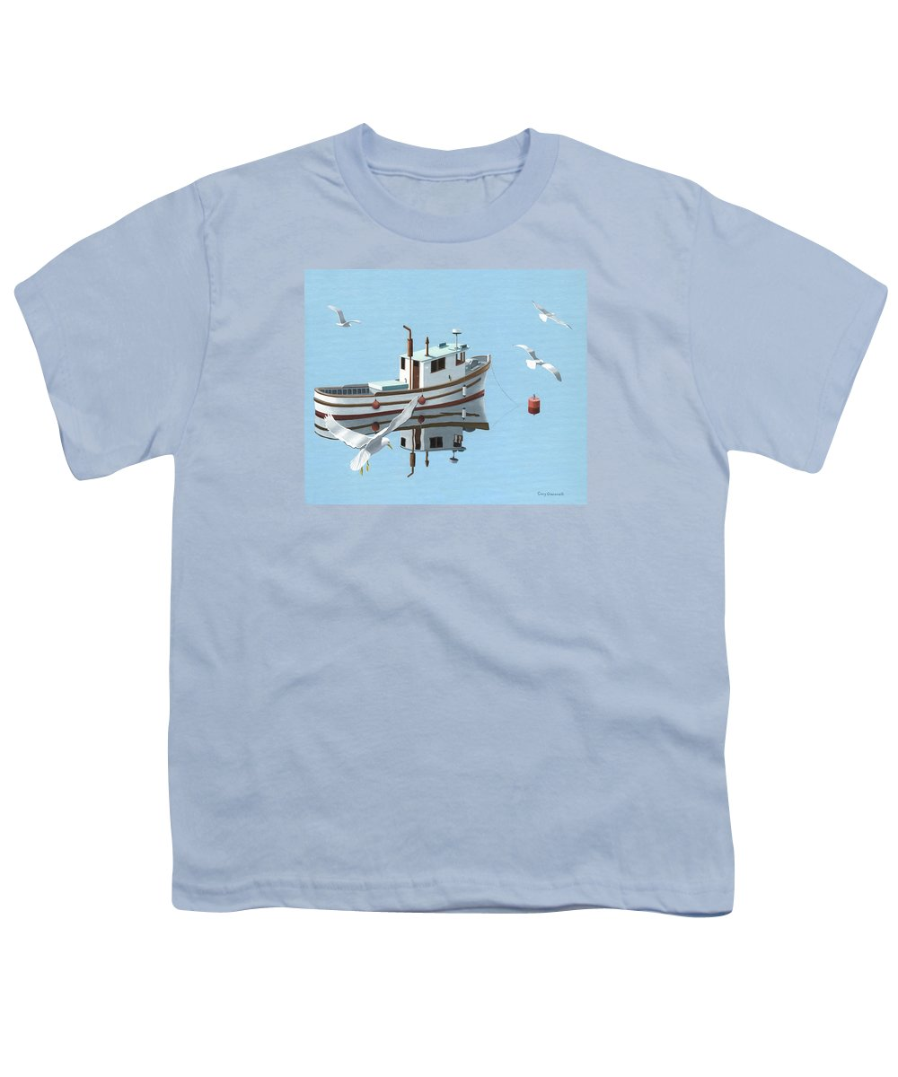 Boat Youth T-Shirt featuring the painting A Contemplation Of Seagulls by Gary Giacomelli