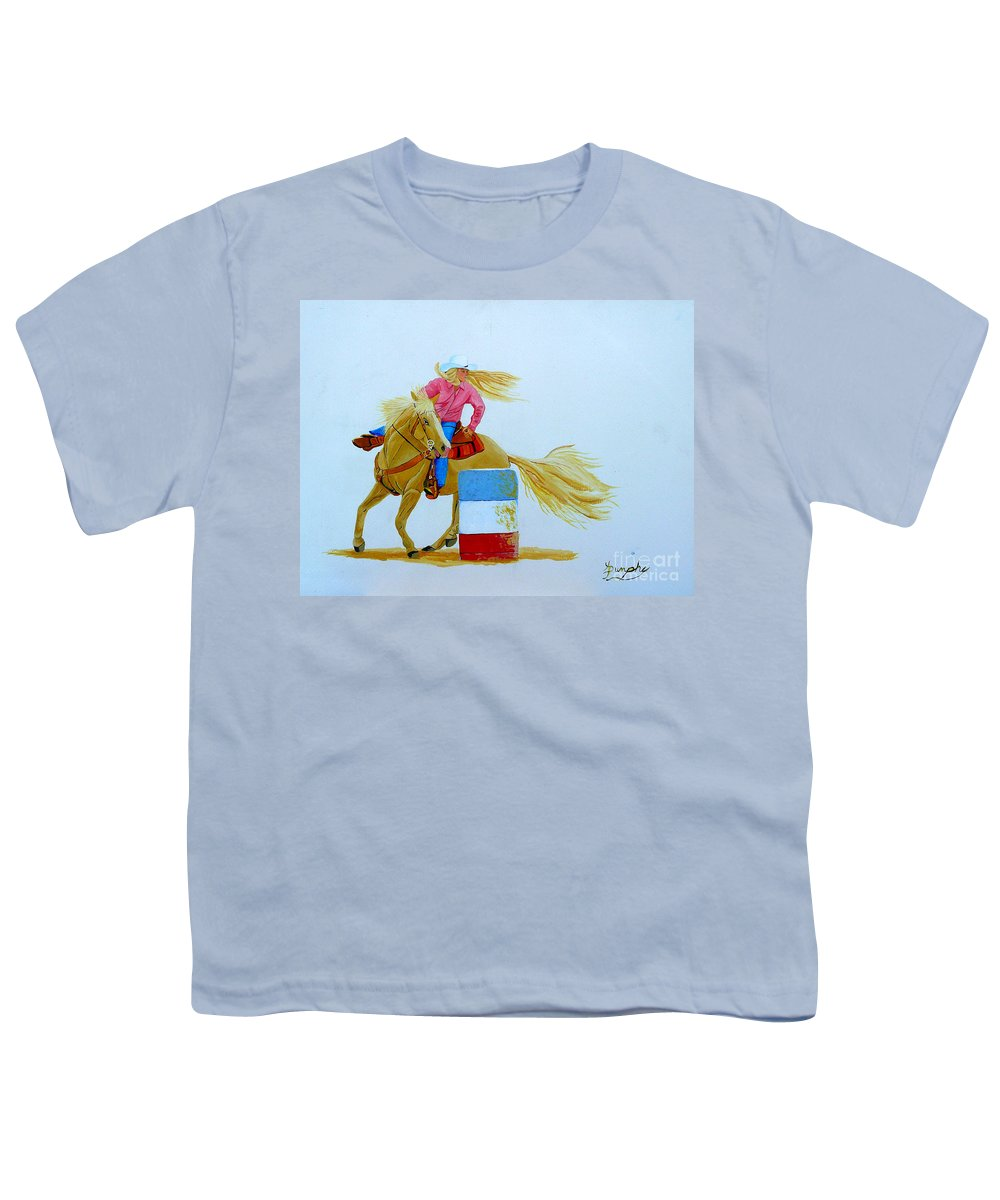 Rodeo Youth T-Shirt featuring the painting Barrel Racer by Anthony Dunphy