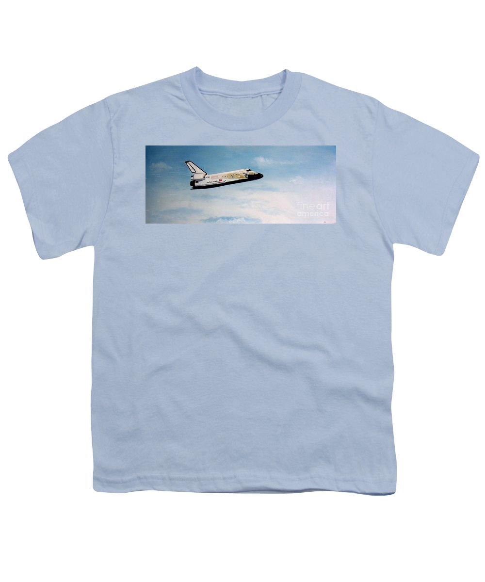 Shuttle Youth T-Shirt featuring the painting Challenger by Murphy Elliott