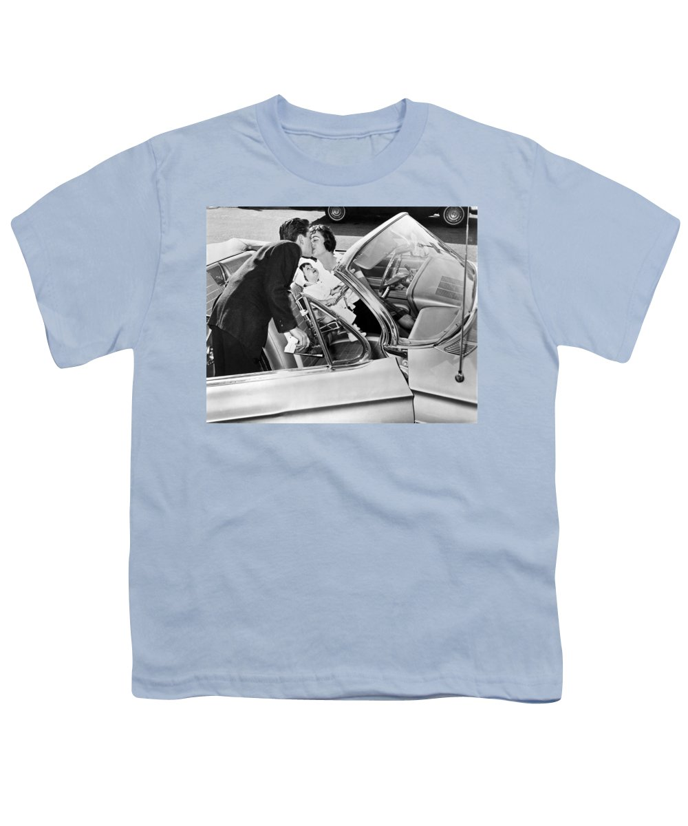 1956 Youth T-Shirt featuring the photograph Family Kiss by Underwood Archives