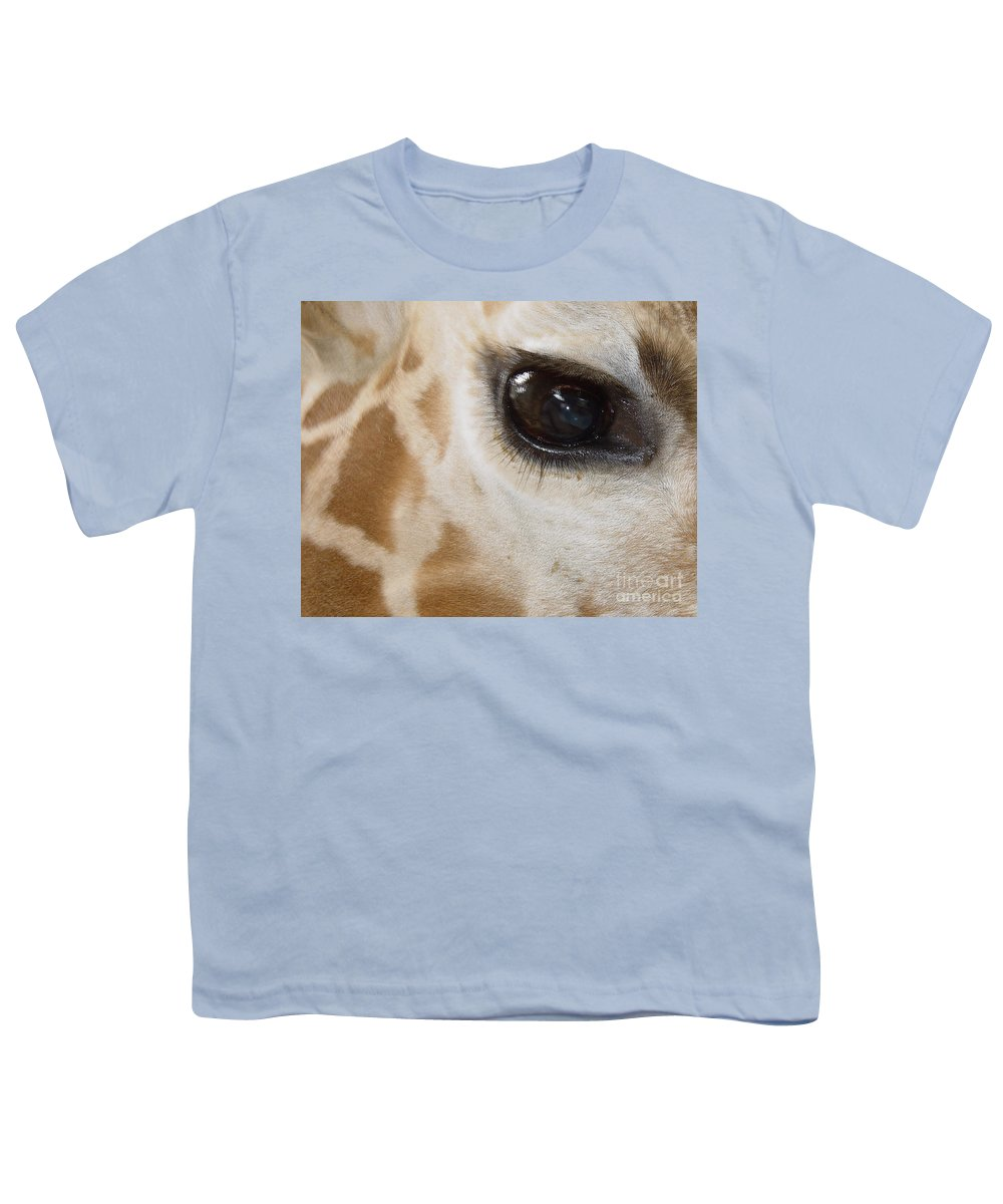 Giraffe Youth T-Shirt featuring the photograph Giraffe Eye by Heather Coen