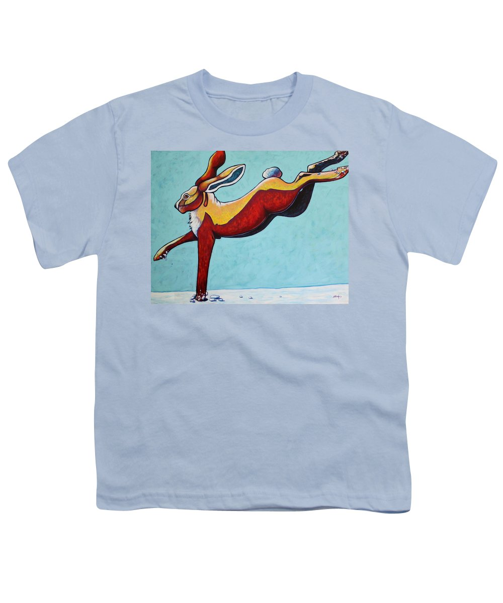 Wildlife Youth T-Shirt featuring the painting High Tailing It - Jackrabbit by Joe Triano