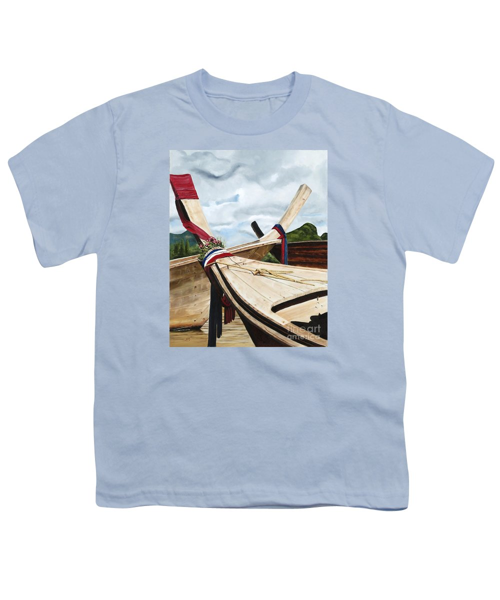 Art Youth T-Shirt featuring the painting Long Tail Boats Of Krabi by Mary Rogers