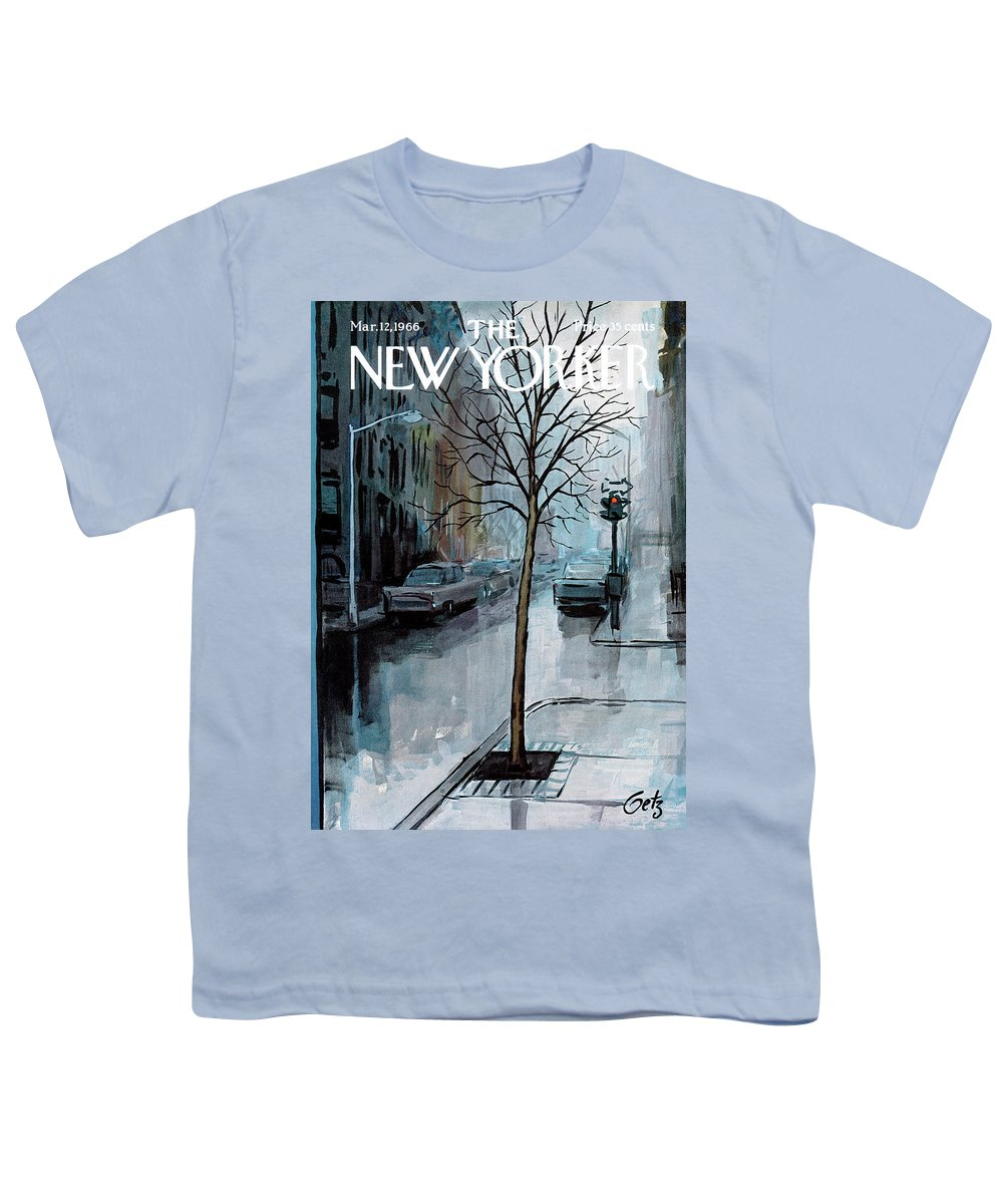 Rain Youth T-Shirt featuring the painting New Yorker March 12th, 1966 by Arthur Getz