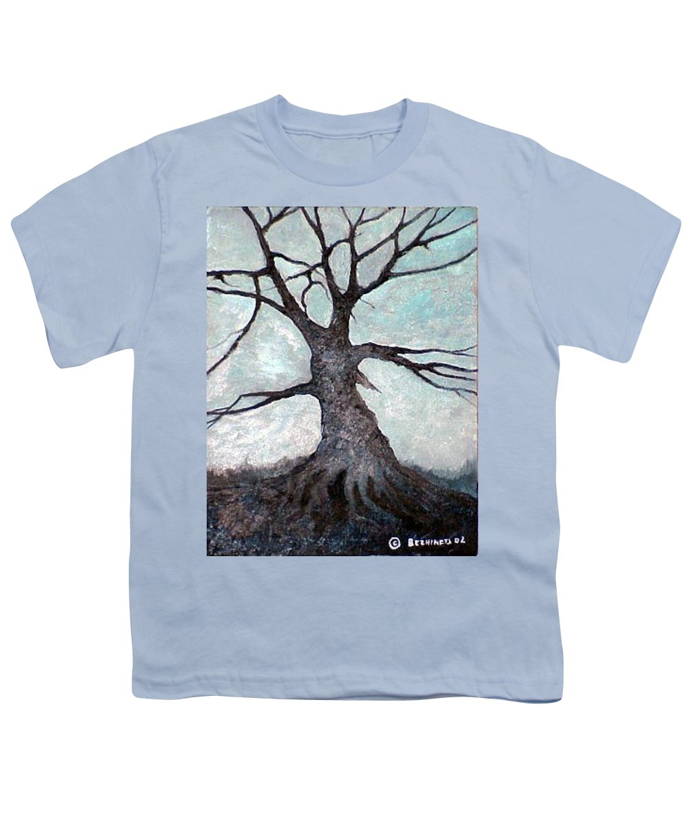 Landscape Youth T-Shirt featuring the painting Old Tree by Sergey Bezhinets