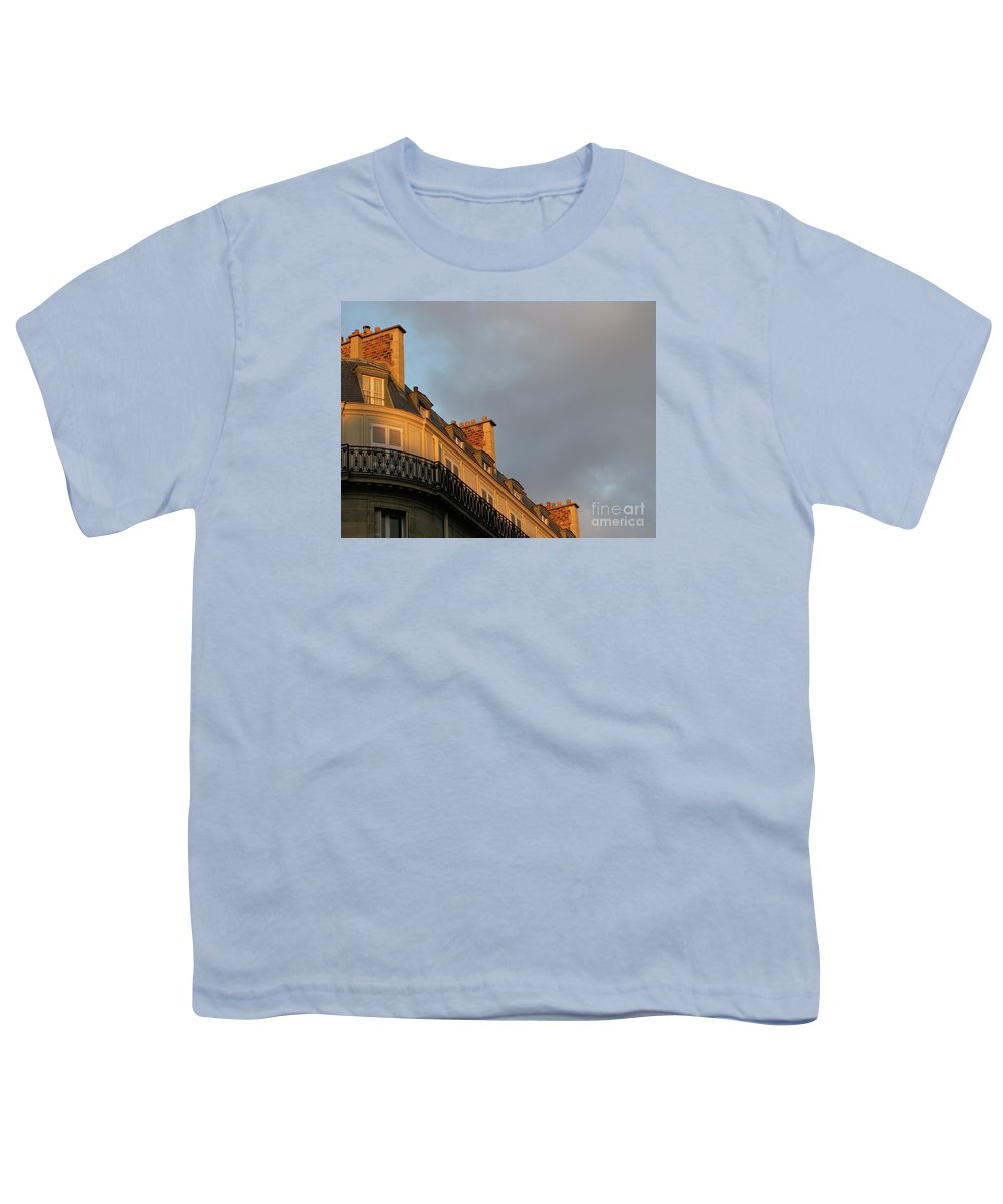 Paris Youth T-Shirt featuring the photograph Paris At Sunset by Ann Horn