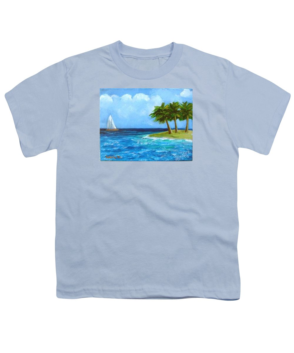 Boats Youth T-Shirt featuring the painting Perfect Sailing Day by Laurie Morgan