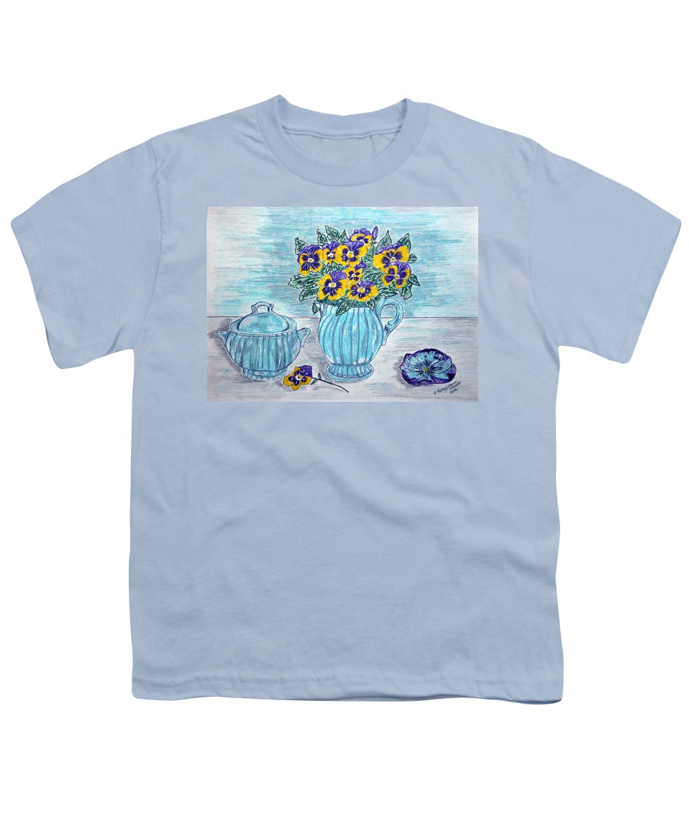 Stangl Pottery Youth T-Shirt featuring the painting Stangl Pottery And Pansies by Kathy Marrs Chandler