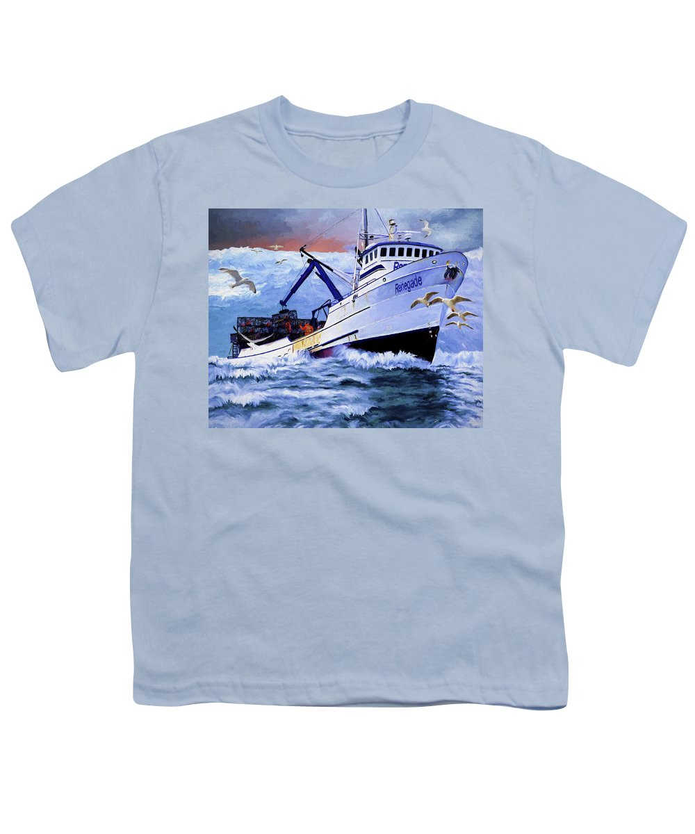 Alaskan King Crabber Youth T-Shirt featuring the painting Time To Go Home by David Wagner