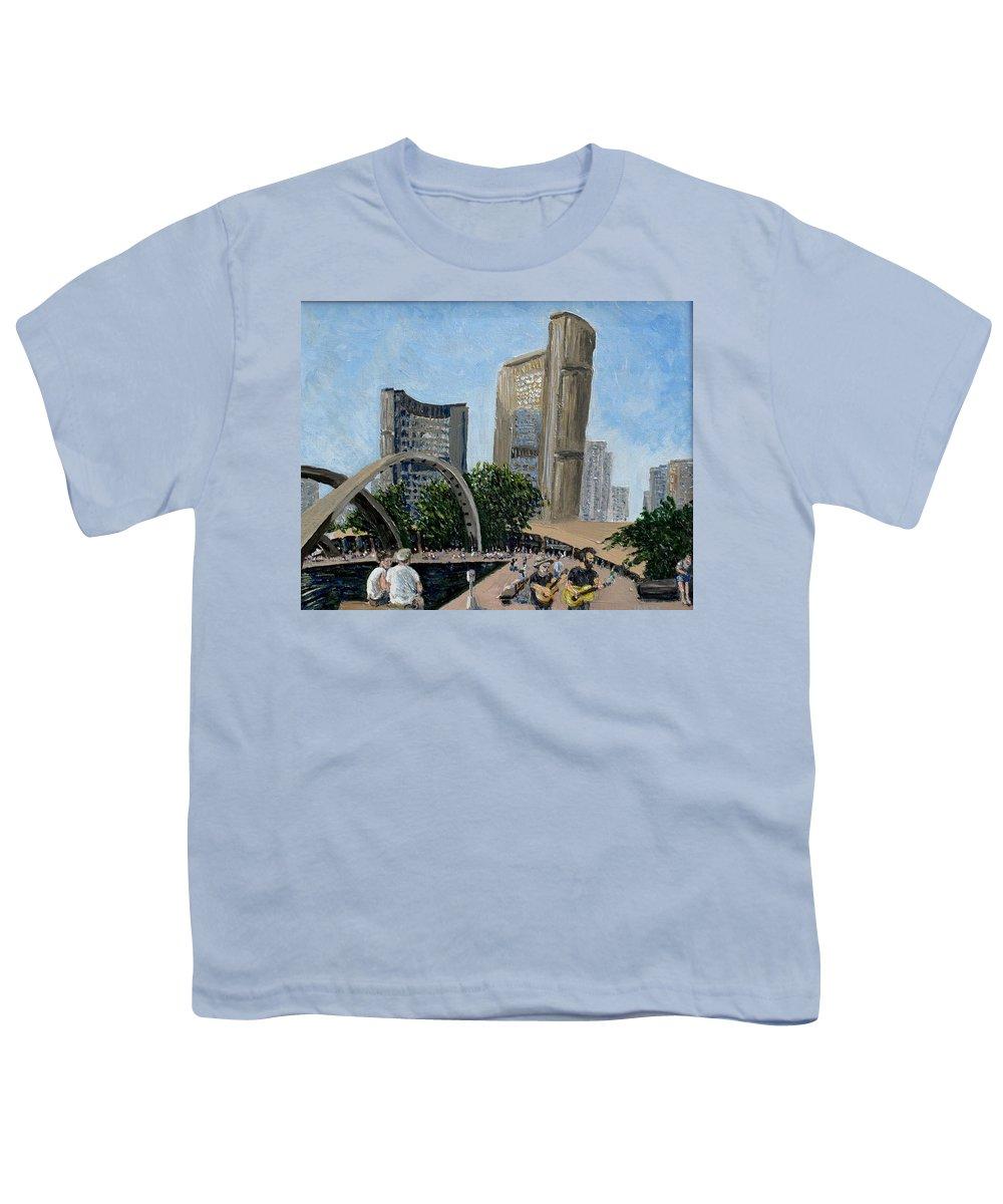 Toronto Youth T-Shirt featuring the painting Toronto City Hall by Ian MacDonald