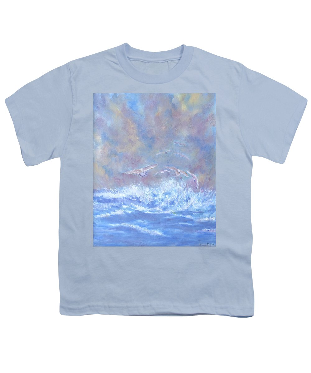 Seascape Youth T-Shirt featuring the painting Seagulls at Play by Ben Kiger