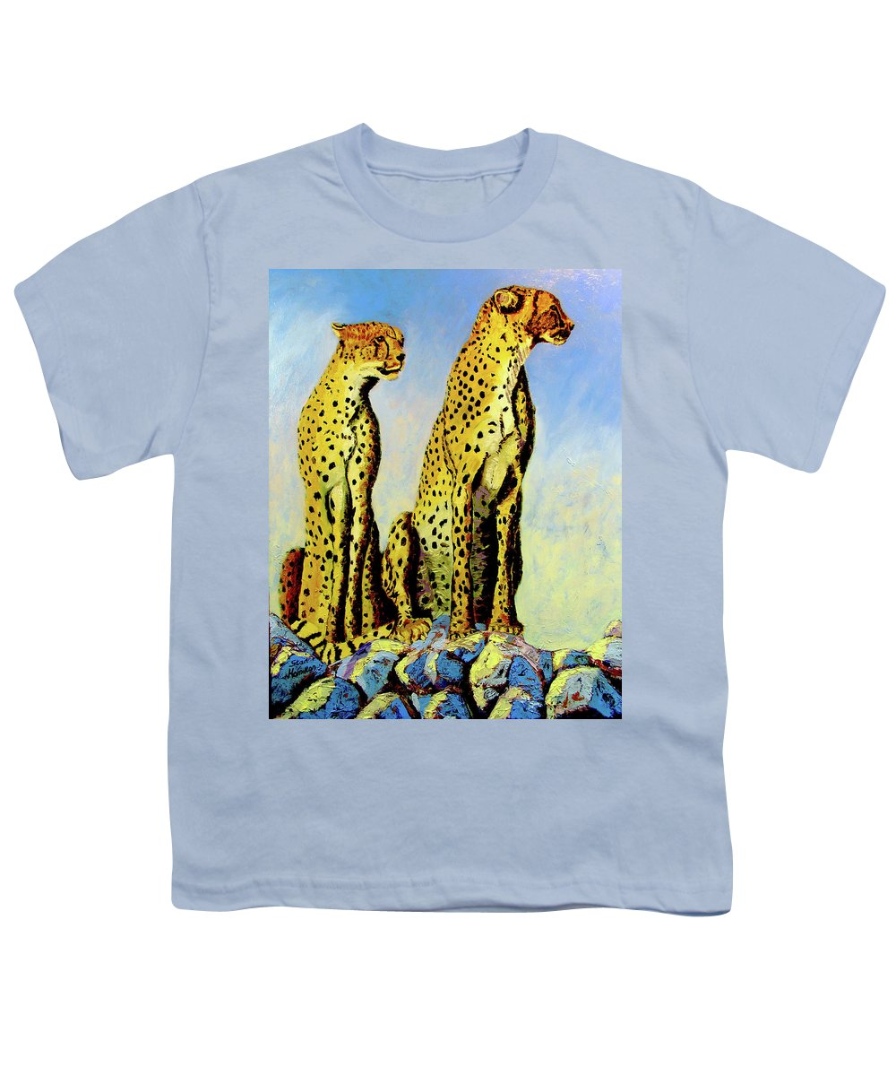 Cheetahs Youth T-Shirt featuring the painting Two Cheetahs by Stan Hamilton