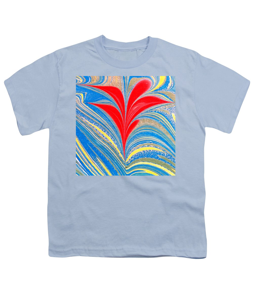 Flower Youth T-Shirt featuring the painting Water Marbling Art, Ebru by Dilan C
