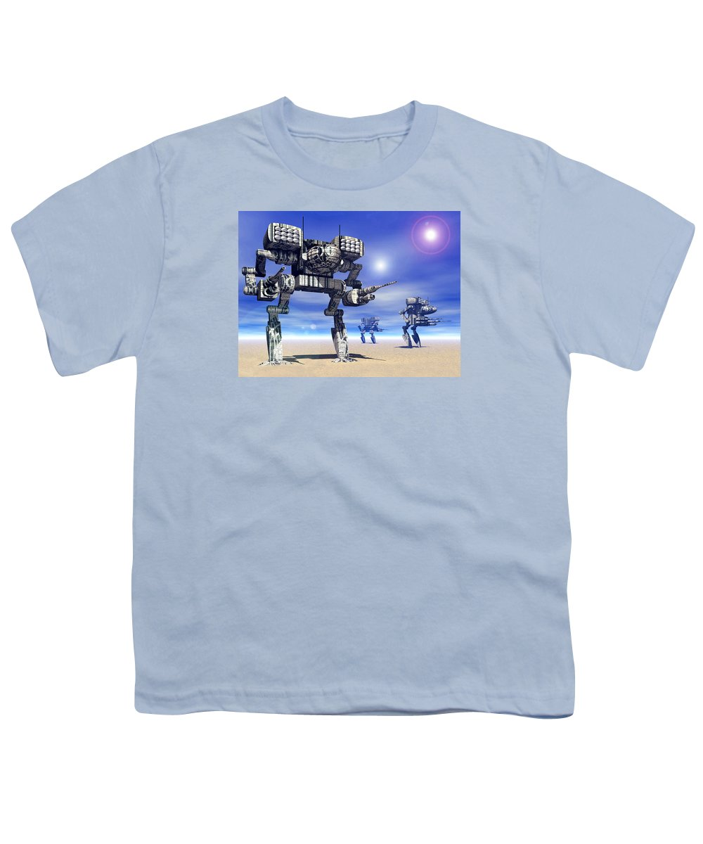 Science Fiction Youth T-Shirt featuring the digital art 501st Mech Trinary by Curtiss Shaffer