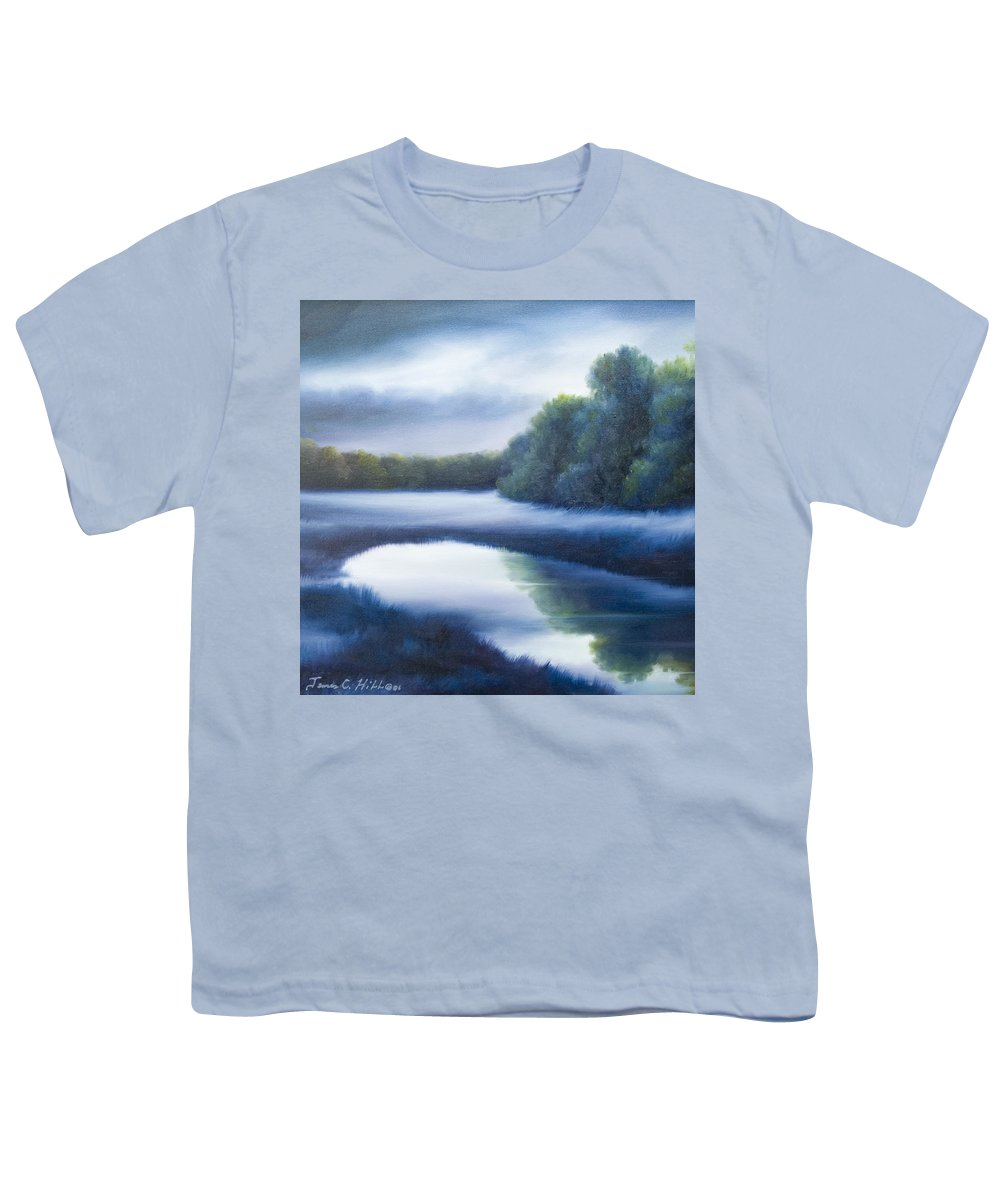Nature; Lake; Sunset; Sunrise; Serene; Forest; Trees; Water; Ripples; Clearing; Lagoon; James Christopher Hill; Jameshillgallery.com; Foliage; Sky; Realism; Oils; Green; Tree; Blue; Pink; Pond; Lake Youth T-Shirt featuring the painting A Day In The Life 4 by James Christopher Hill