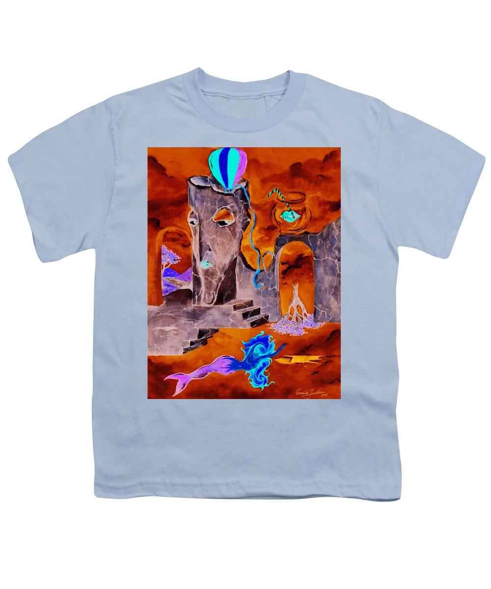 Surreal Sky Mermaids Trees Stairs Heaven Youth T-Shirt featuring the painting A Few Seconds In My Head by Veronica Jackson
