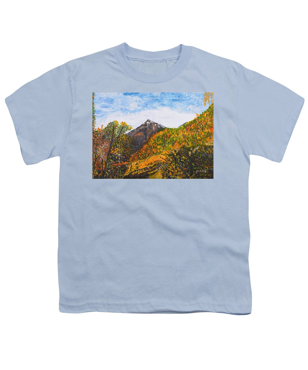 Landscape Youth T-Shirt featuring the painting Algund View by Valerie Ornstein