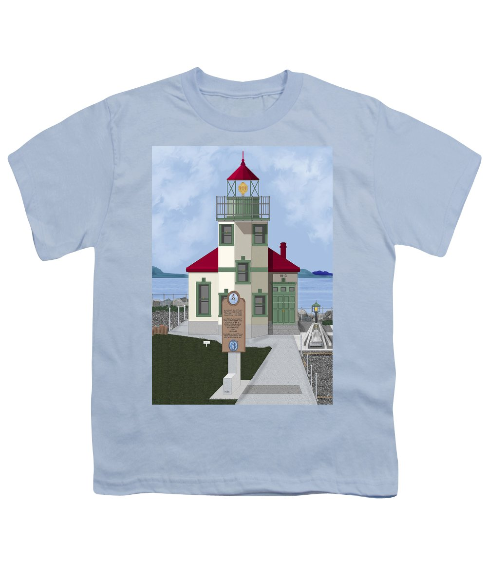 Lighthouse Youth T-Shirt featuring the painting Alki Point On Elliott Bay by Anne Norskog