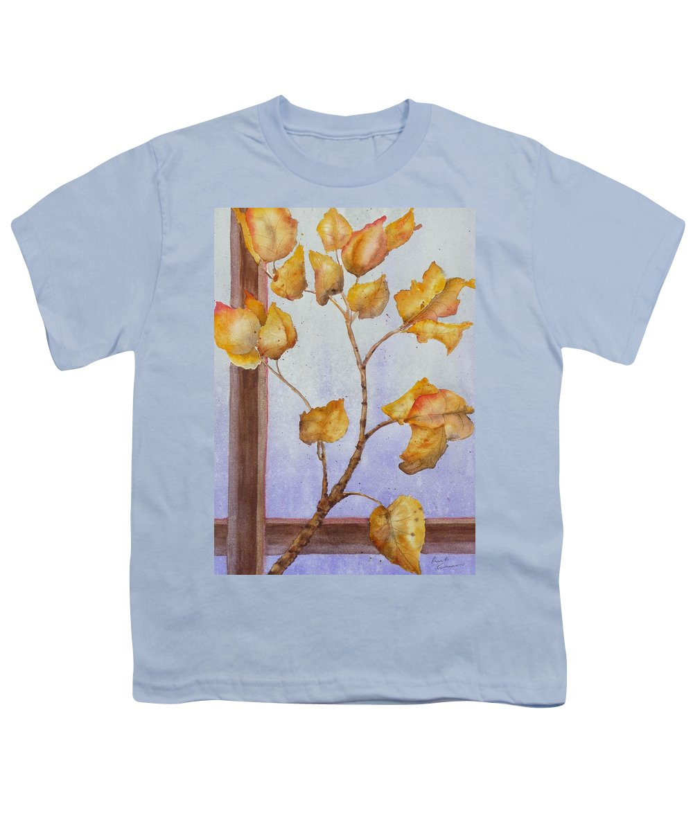 Leaves Youth T-Shirt featuring the painting Aspen by Ruth Kamenev