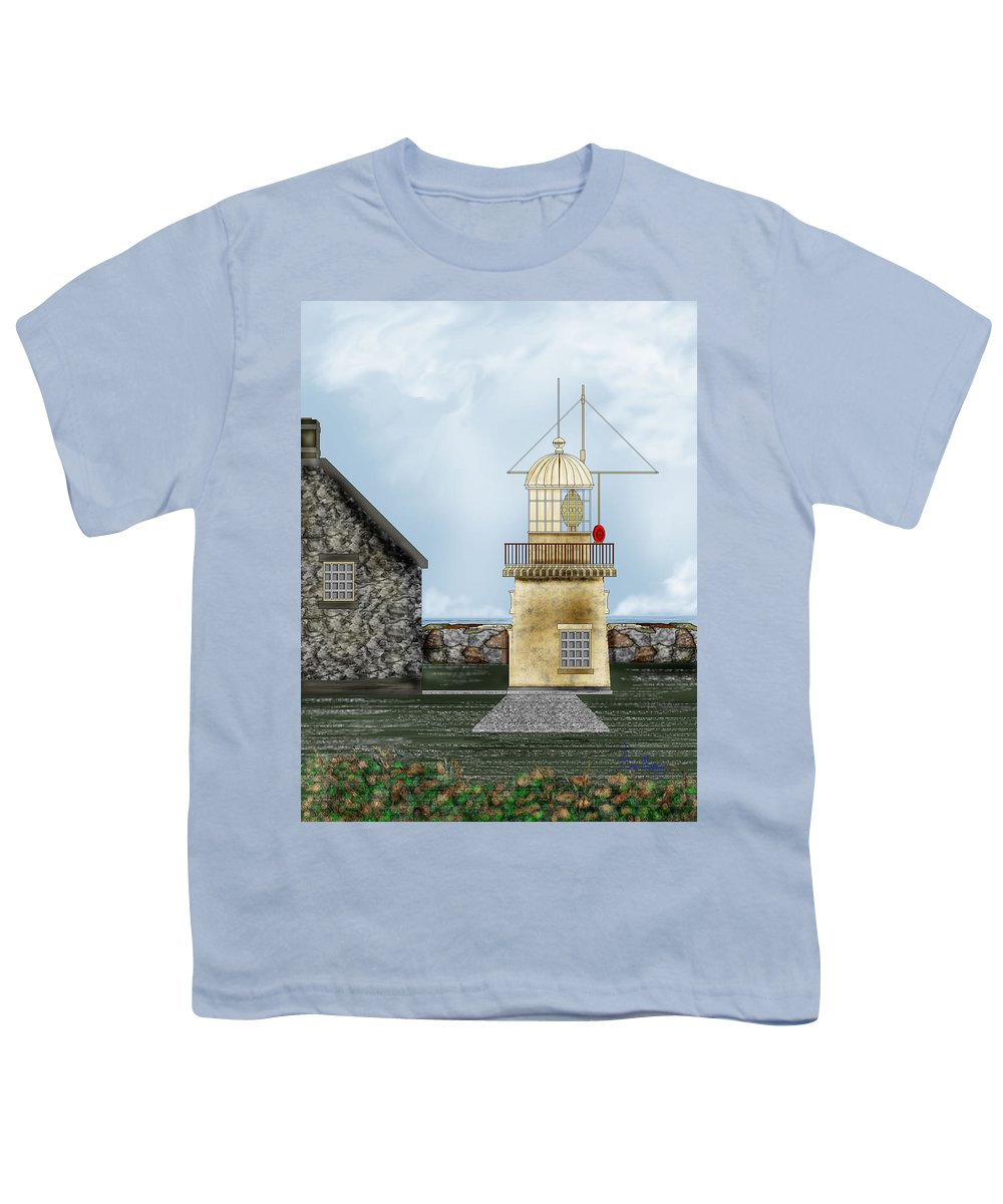 Lighthouse Youth T-Shirt featuring the painting Ballinacourty Lighthouse At Waterford Ireland by Anne Norskog