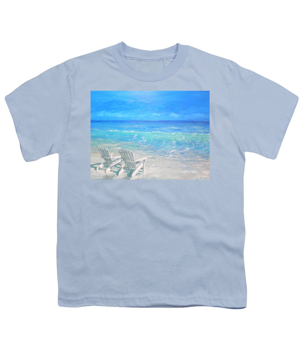 Beach Youth T-Shirt featuring the painting Beach Relaxation by Paul Emig