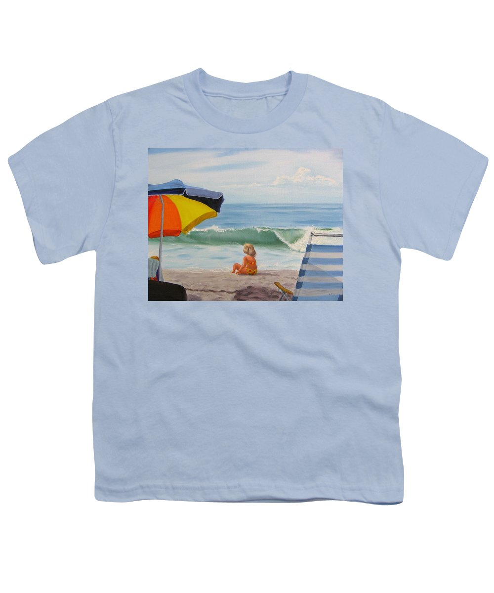 Seascape Youth T-Shirt featuring the painting Beach Scene - Childhood by Lea Novak