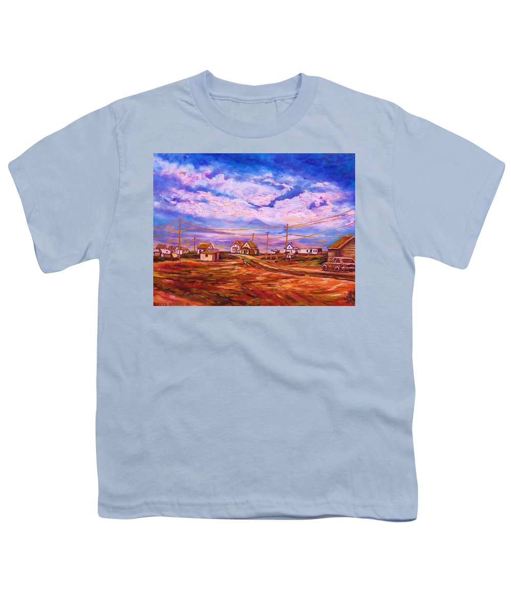 Cloudscapes Youth T-Shirt featuring the painting Big Sky Red Earth by Carole Spandau