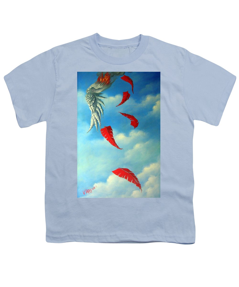 Surreal Youth T-Shirt featuring the painting Bird On Fire by Valerie Vescovi