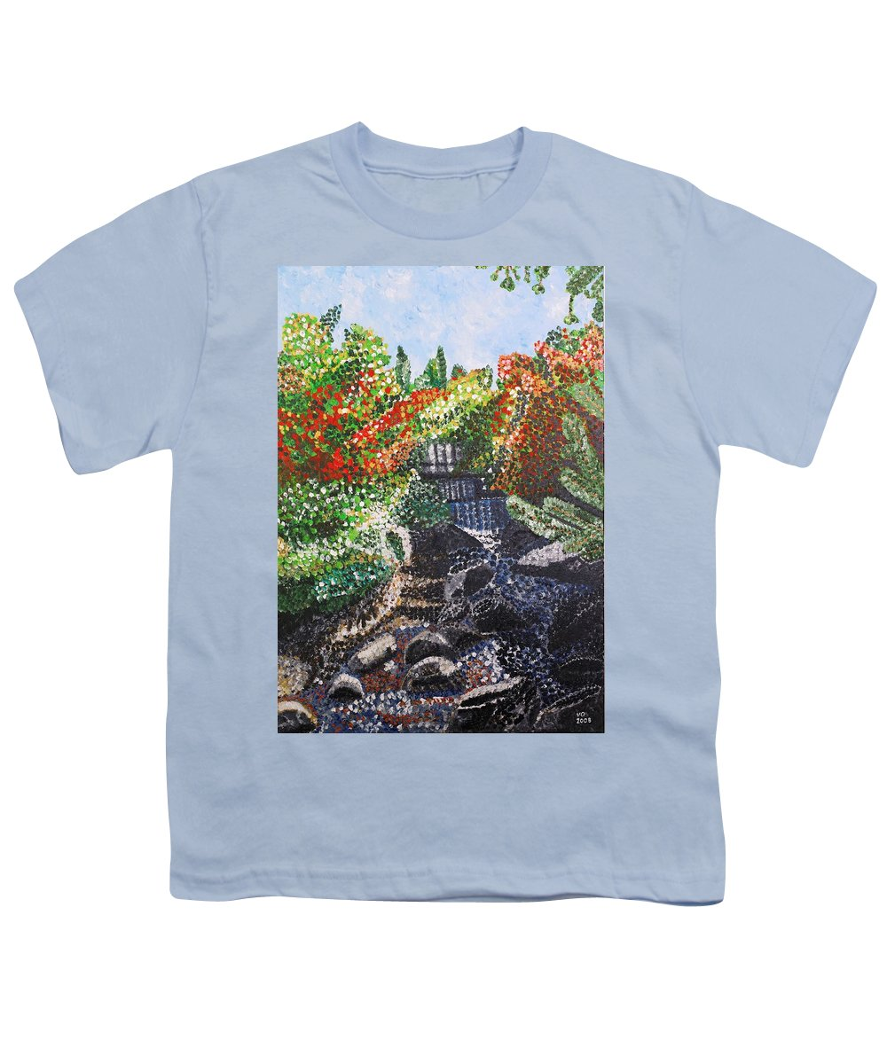 Landscape Youth T-Shirt featuring the painting Botanic Garden Merano 1 by Valerie Ornstein