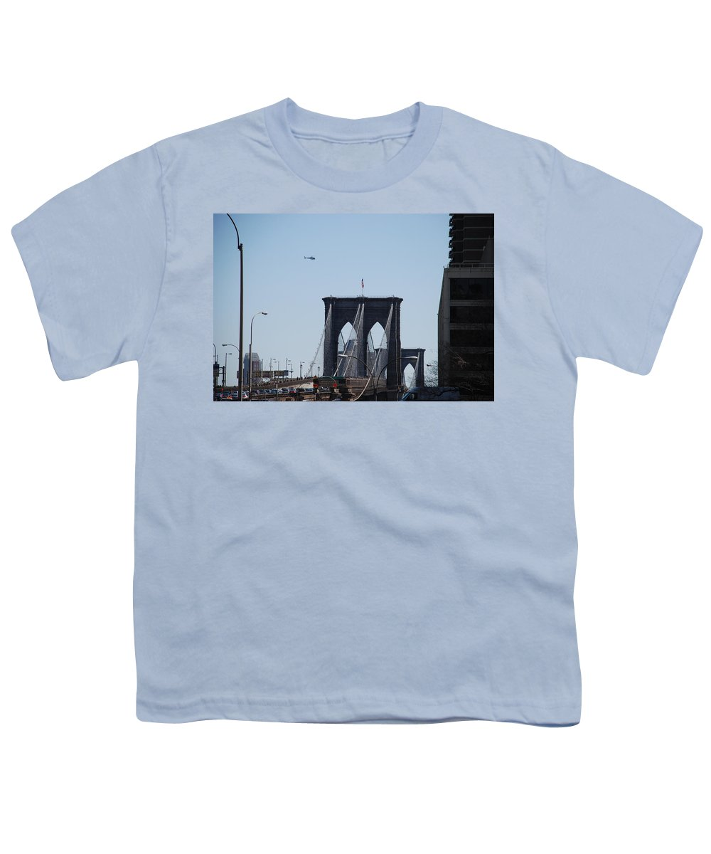 Architecture Youth T-Shirt featuring the photograph Brooklyn Bridge by Rob Hans