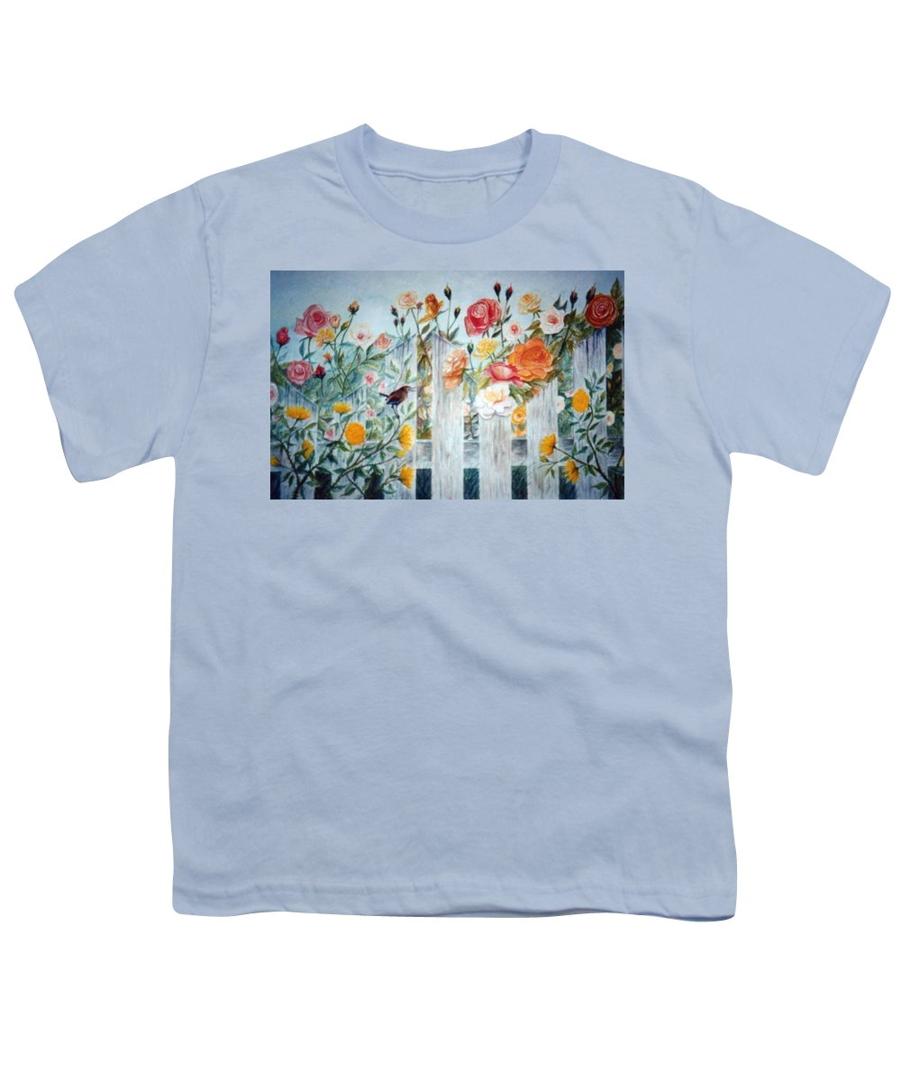 Roses; Flowers; Sc Wren Youth T-Shirt featuring the painting Carolina Wren And Roses by Ben Kiger