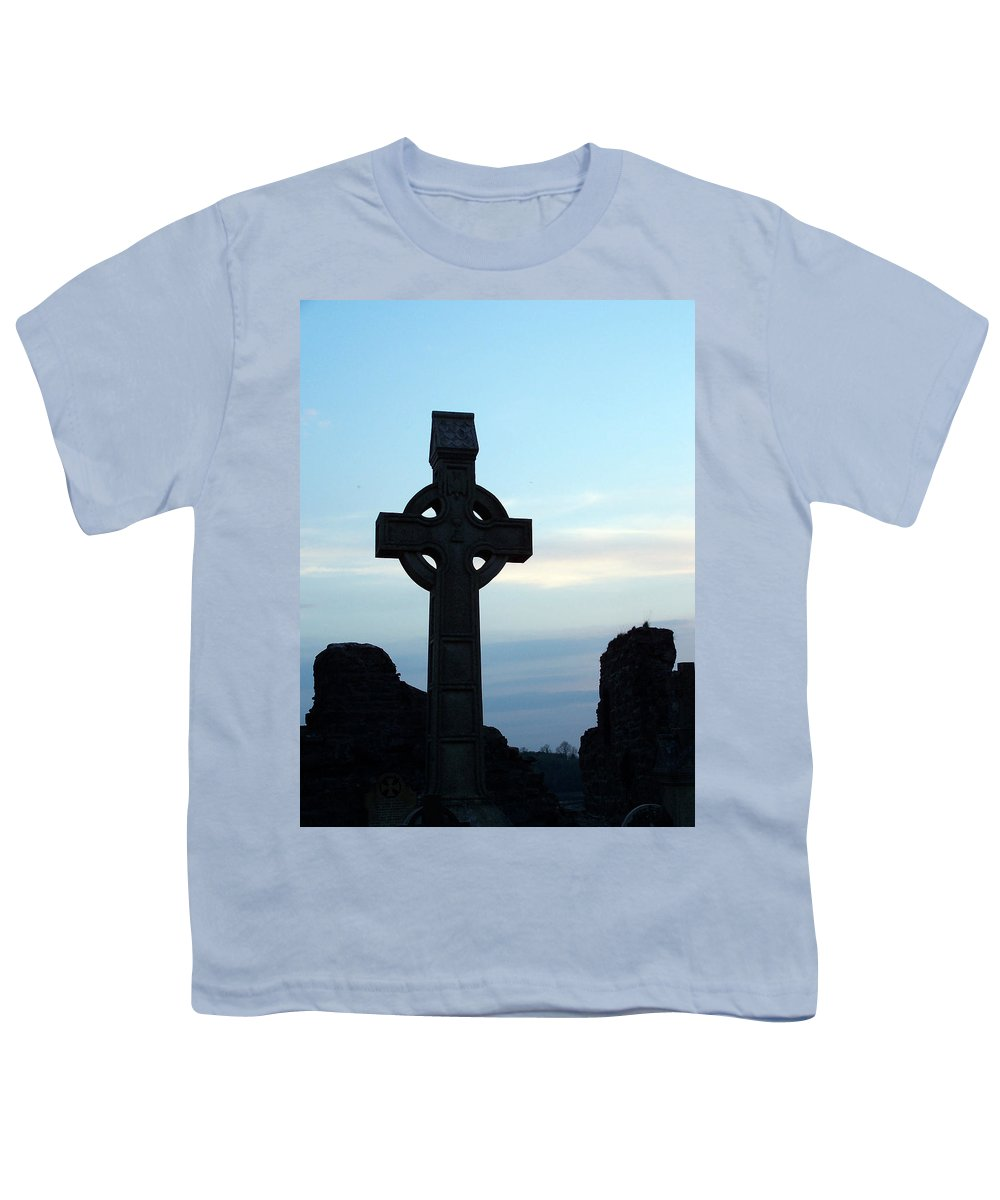 Irish Youth T-Shirt featuring the photograph Celtic Cross At Sunset Donegal Ireland by Teresa Mucha