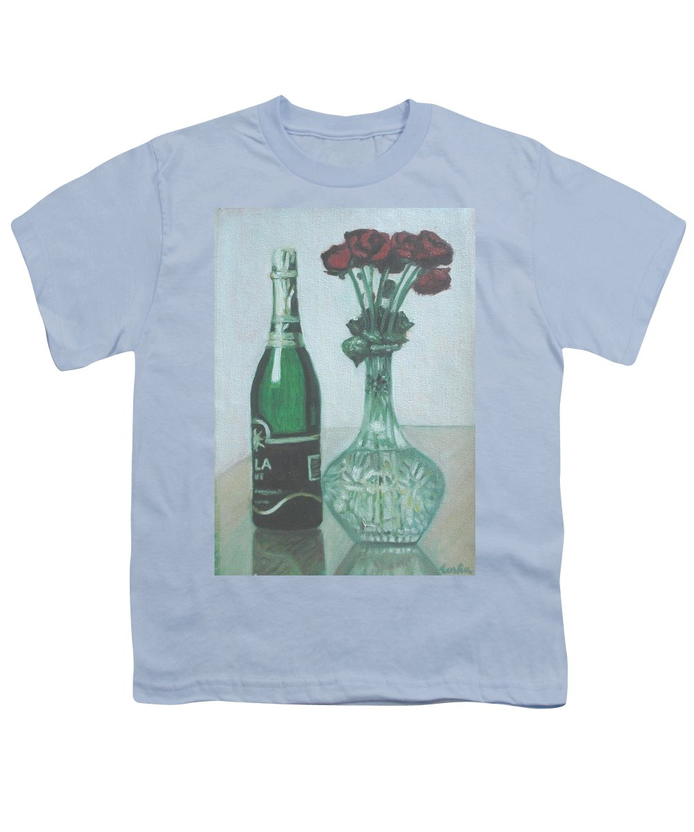 Champagne Youth T-Shirt featuring the painting Champagne And Roses by Usha Shantharam