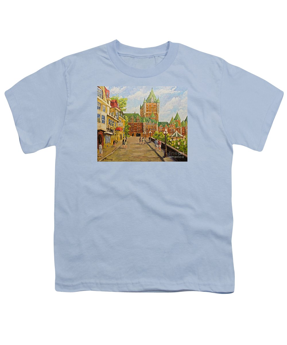 Original Oil Painting Of Chateau Frontenac. Stunning Scene Of Th Youth T-Shirt featuring the painting Chateau Frontenac Promenade Quebec City by Prankearts by Richard T Pranke